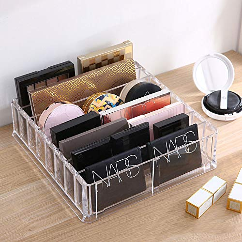 Acrylic Makeup Organizer Compact Makeup Palette Organizer 8 Spaces Makeup Holder Organizer For Vanity Clear Cosmetics Makeup Drawer Organizer With Removable Dividers by ROWNYEON