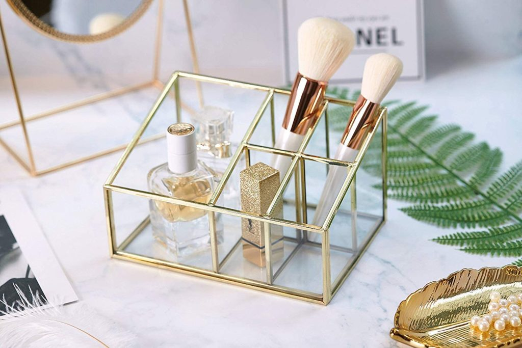 PuTwo Makeup Organizer Vintage 5 Compartments Glass & Metal Cosmetic Organizer Brass Makeup Storage for Makeup Brushes Perfume Lipsticks Nail Polish